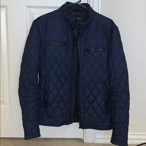Zara Men's Quilted Blue Medium Jacket
